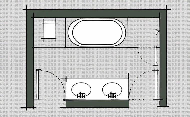 常用的十种卫生间平面方案布局_10