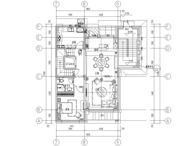 [北京]530㎡现代简奢风联排别墅装修施工图_1