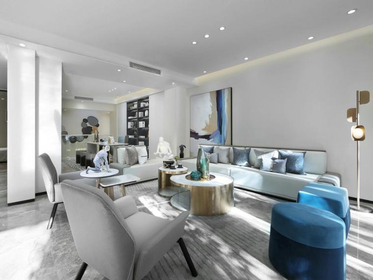 [北京]530㎡现代简奢联排别墅3D模型+效果图_4