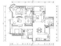 [湖北]武汉180㎡美式轻奢风住宅装修施工图