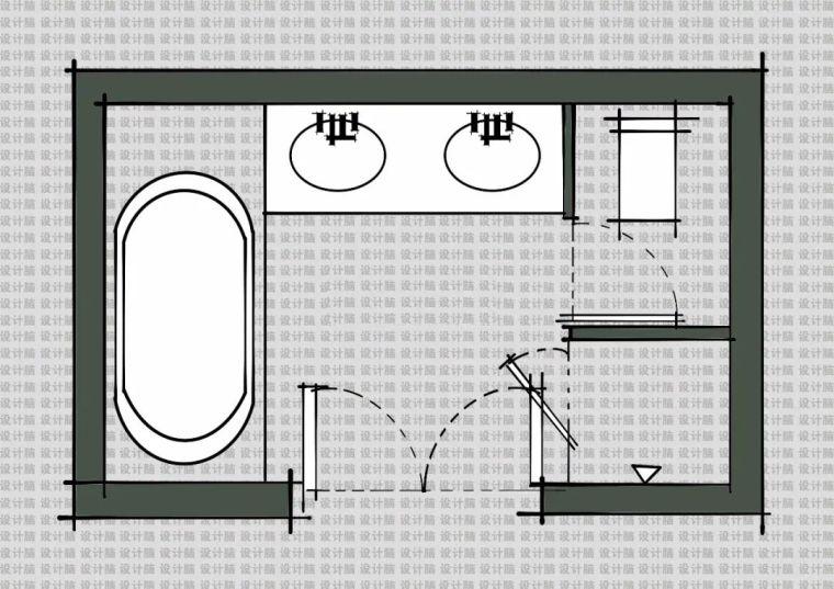 常用的十种卫生间平面方案布局_2
