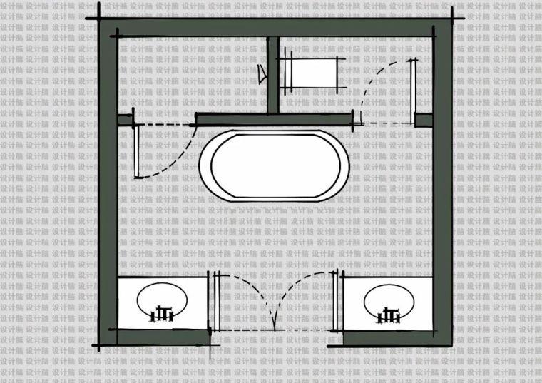 常用的十种卫生间平面方案布局_3