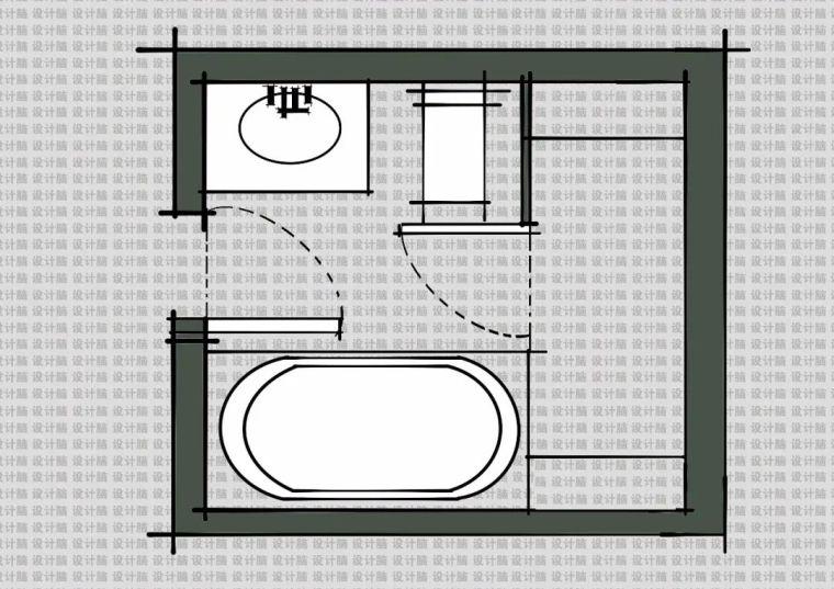 常用的十种卫生间平面方案布局_4