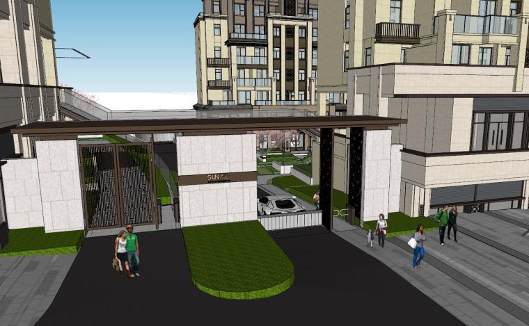 现代中式风格庭院式住宅景观模型设计_1