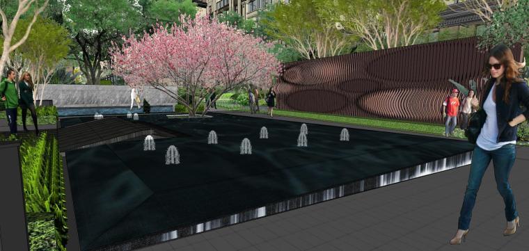 现代中式风格庭院式住宅景观模型设计_3