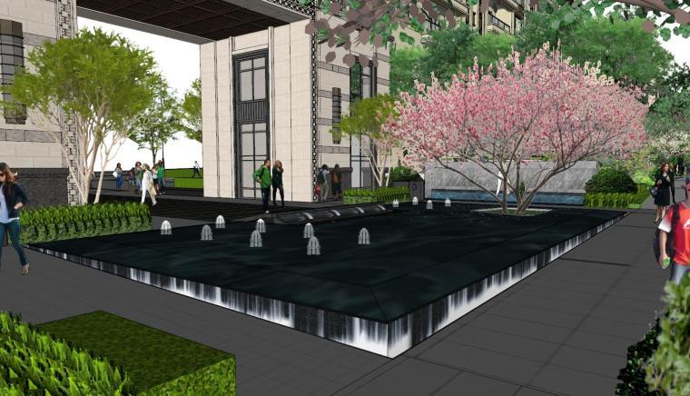 现代中式风格庭院式住宅景观模型设计_4