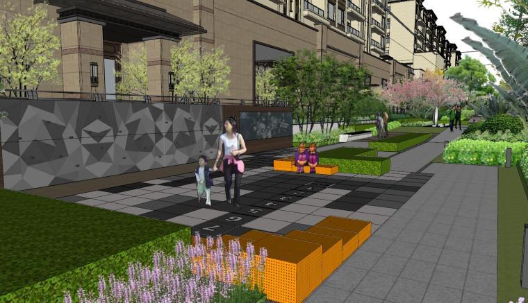 现代中式风格庭院式住宅景观模型设计_8