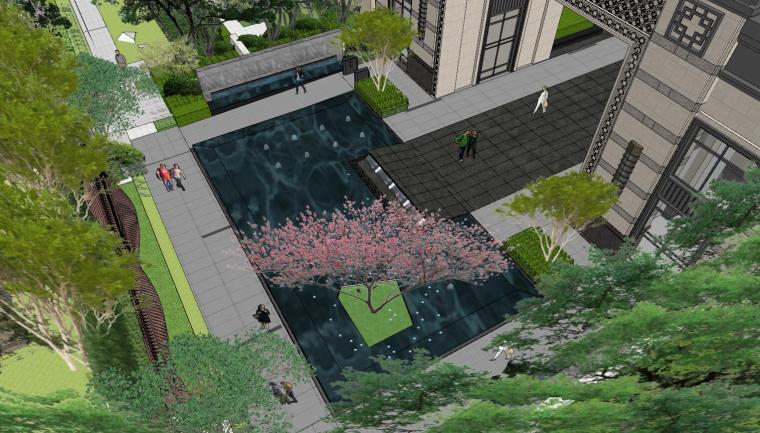 现代中式风格庭院式住宅景观模型设计_5
