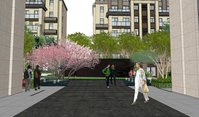 现代中式风格庭院式住宅景观模型设计_2