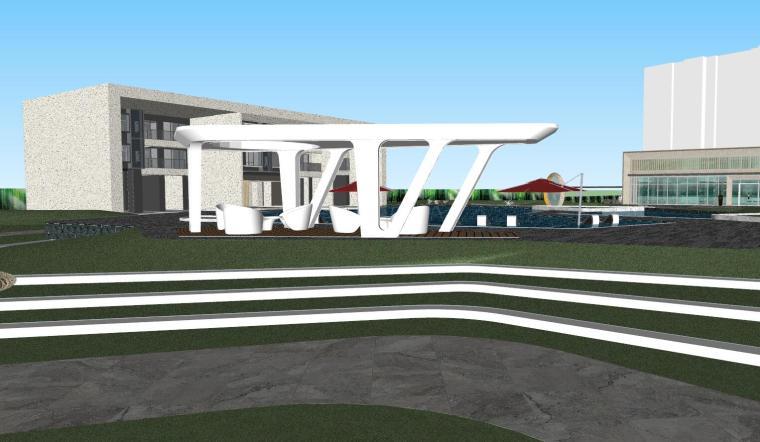 知名企业现代风格展示区景观模型设计_4