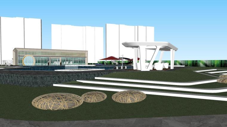 知名企业现代风格展示区景观模型设计_5