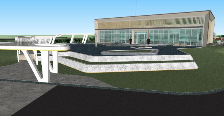 知名企业现代风格展示区景观模型设计_2