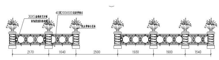 欧陆风格景观花钵、围栏节点详图设计_5