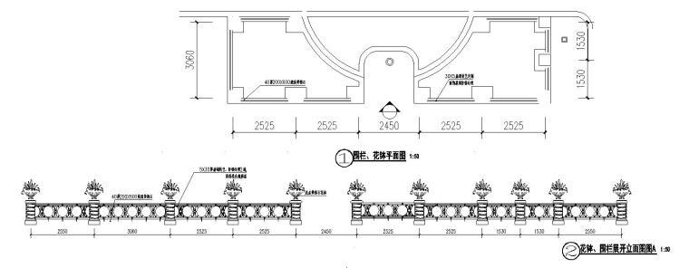 欧陆风格景观花钵、围栏节点详图设计_1
