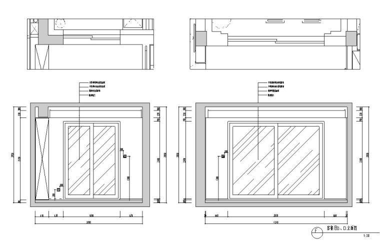 现代简约风格凯旋门三居室装修施工图设计_5