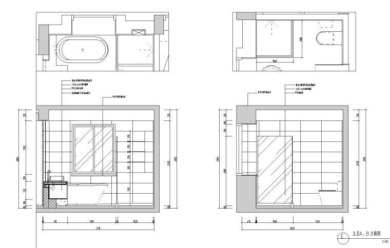 现代简约风格凯旋门三居室装修施工图设计_8