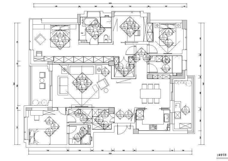 现代简约风格凯旋门三居室装修施工图设计_6