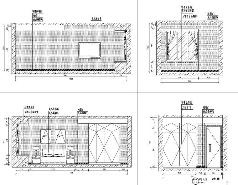 山湖一号现代简约风三居室装修施工图设计_2