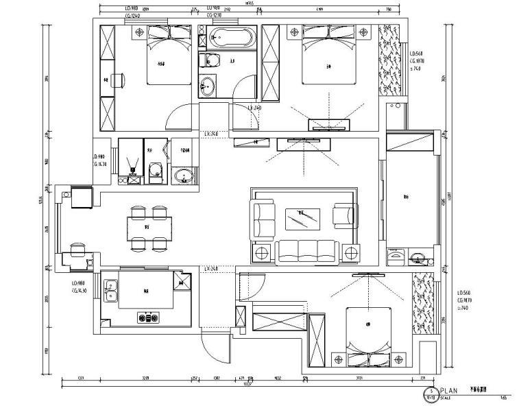 山湖一号现代简约风三居室装修施工图设计_1