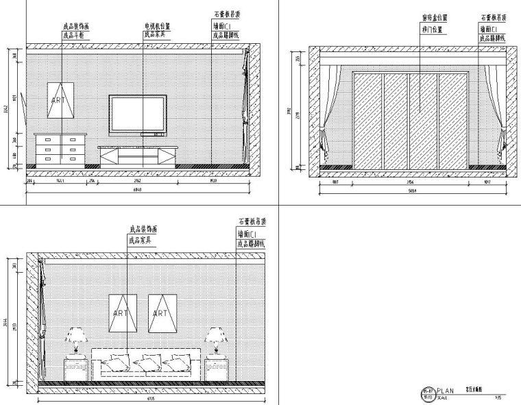 山湖一号现代简约风三居室装修施工图设计_5