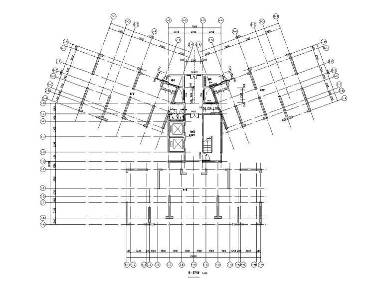 华南地区现代风格1梯4户136+97㎡住宅户型图_3