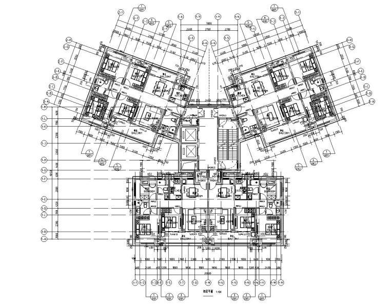 华南地区现代风格1梯4户136+97㎡住宅户型图_6