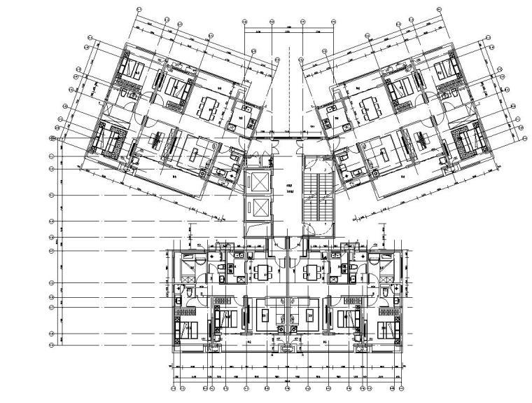 华南地区现代风格1梯4户136+97㎡住宅户型图_4