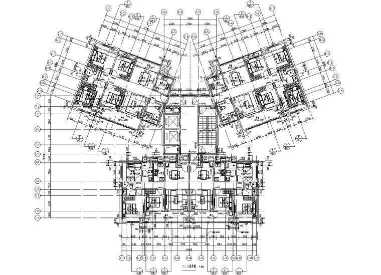 华南地区现代风格1梯4户136+97㎡住宅户型图_2