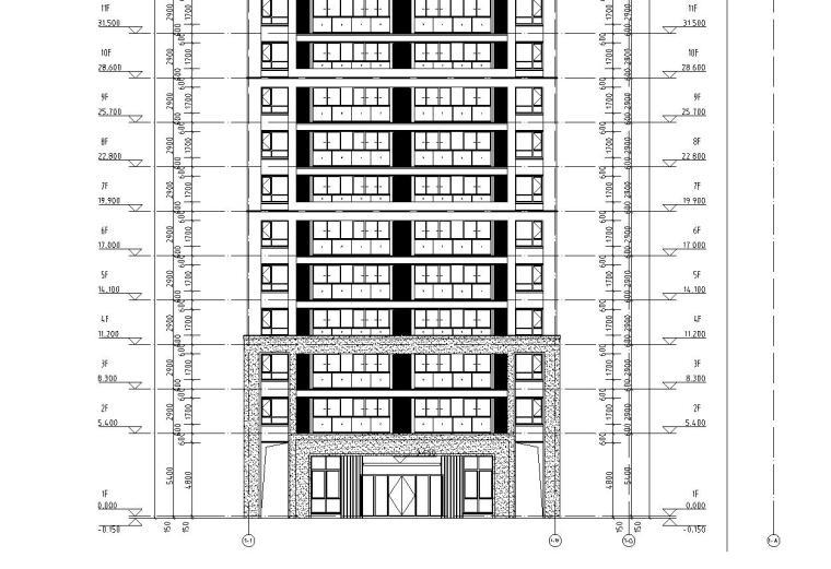 华南地区现代风格1梯4户136+97㎡住宅户型图_7