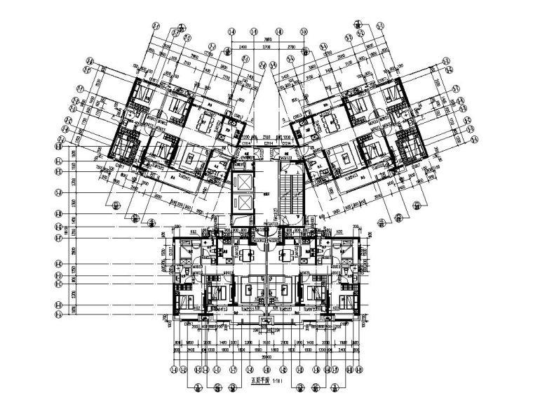 大都会33层楼栋1梯4户128+97㎡住宅户型设计_8