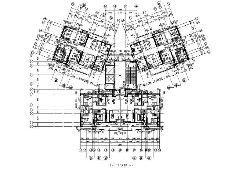 大都会33层楼栋1梯4户128+97㎡住宅户型设计_5