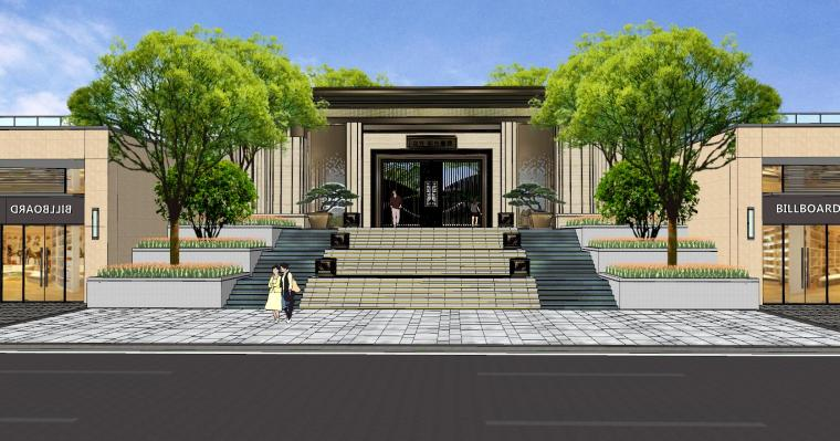 广东新中式风格阳光禧园建筑和景观模型设计_1
