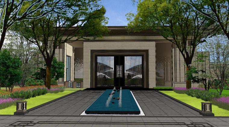 广东新中式风格阳光禧园建筑和景观模型设计_2