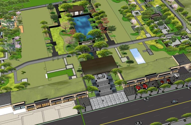 广东新中式风格阳光禧园建筑和景观模型设计_4