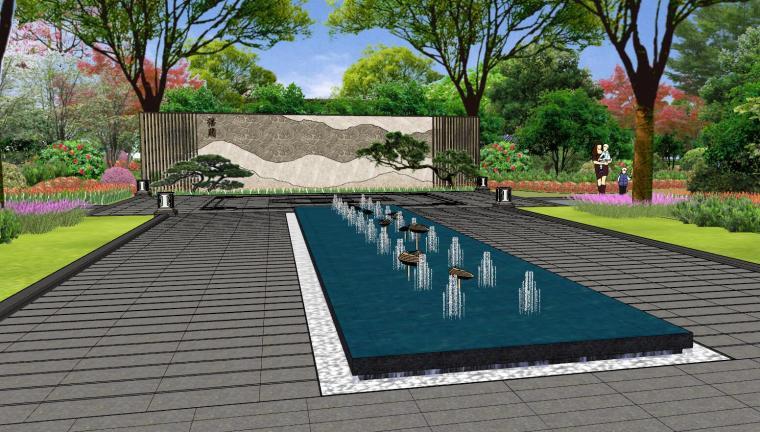 广东新中式风格阳光禧园建筑和景观模型设计_3