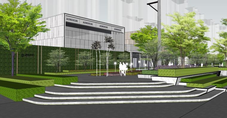 现代风格展示区建筑和景观模型设计_5