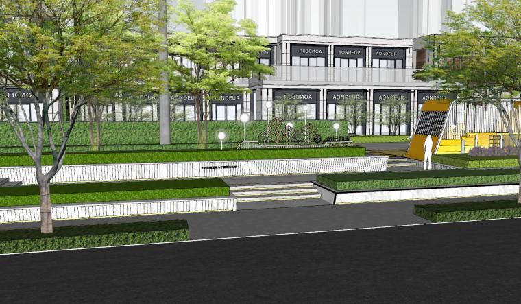 现代风格展示区建筑和景观模型设计_1
