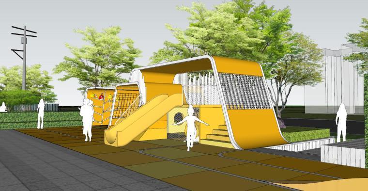 现代风格展示区建筑和景观模型设计_9