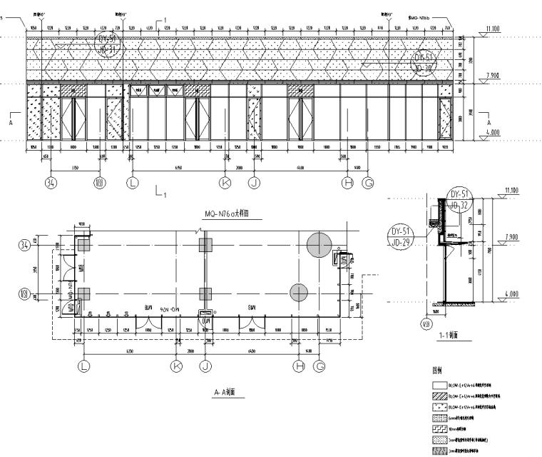 某商业街二层商业幕墙施工图CAD含详细节点_2