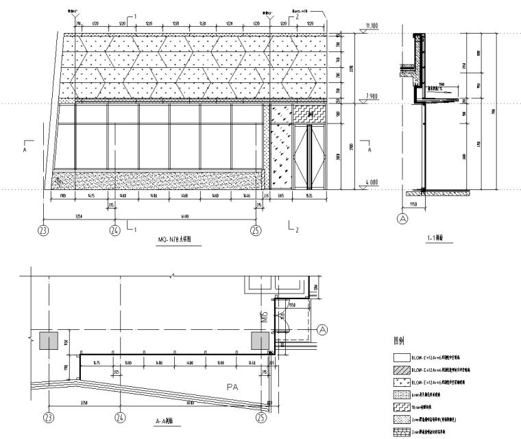 某商业街二层商业幕墙施工图CAD含详细节点_4