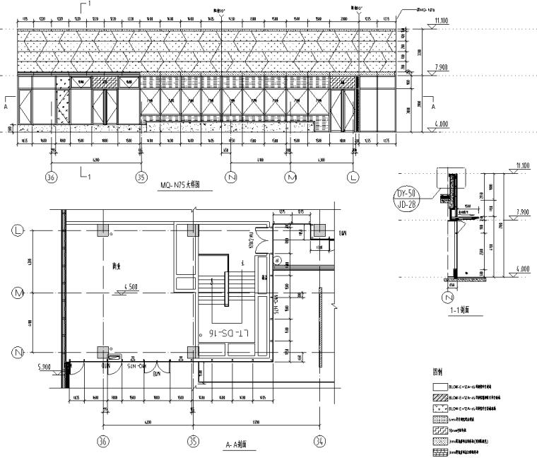 某商业街二层商业幕墙施工图CAD含详细节点_3
