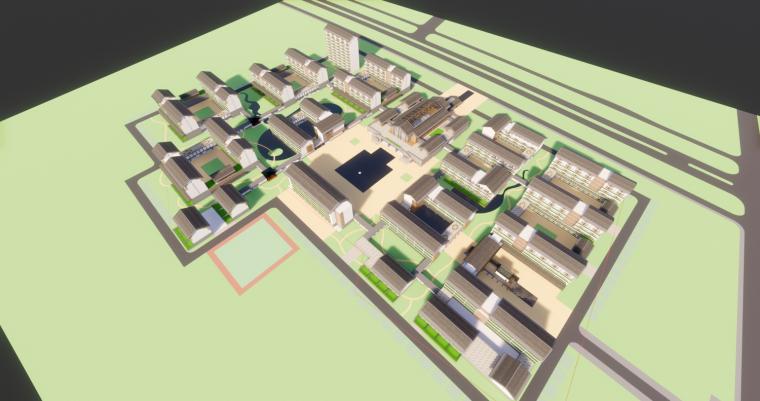 [浙江]现代中式复养老中心老年公寓建筑模型_3