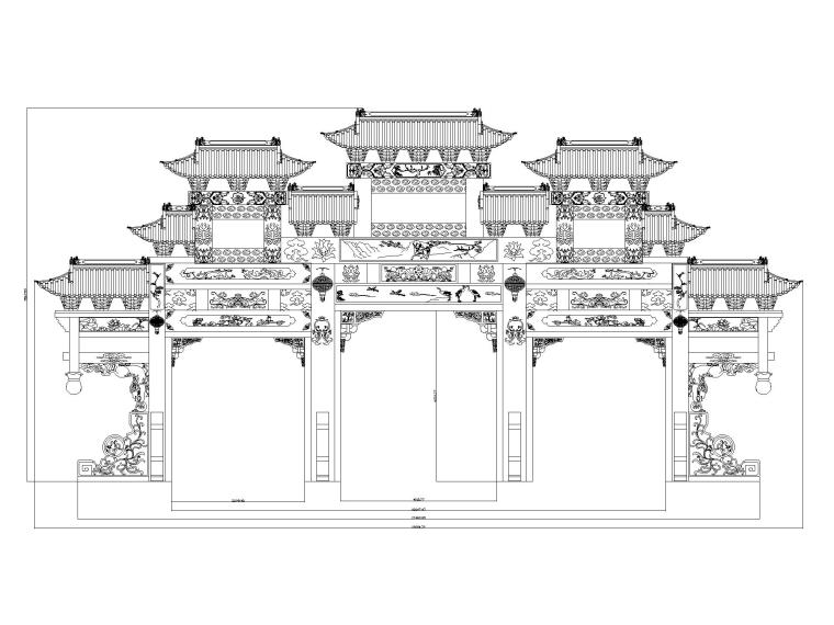 25个古建筑牌坊图纸CAD_1