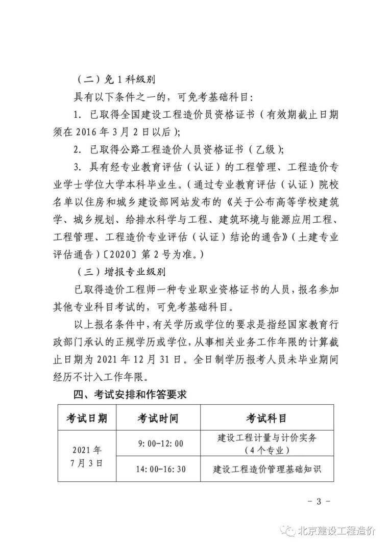 2021年北京市二级造价工程师考试工作的通知_3