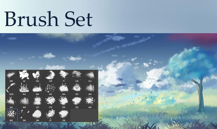 实用景观植物类笔刷合集-云,草和树叶刷PSD_1