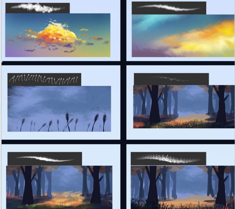 实用景观植物类笔刷合集-云,草和树叶刷PSD_3