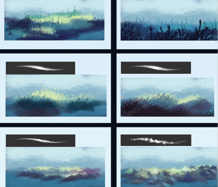实用景观植物类笔刷合集-云,草和树叶刷PSD_4