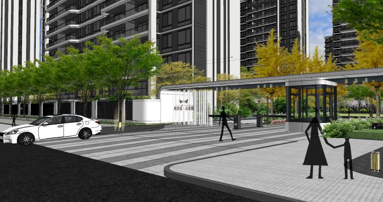 现代流线风格大区住宅建筑和景观模型设计_3