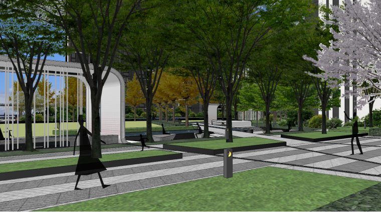 现代流线风格大区住宅建筑和景观模型设计_6