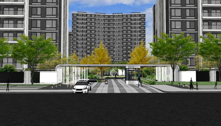 现代流线风格大区住宅建筑和景观模型设计_2